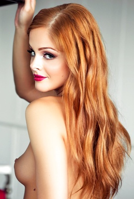 Orange haired Josee Lanue posing for our pleasure